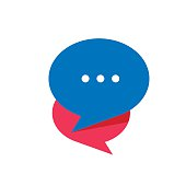 Simple Chat or Dialogue. Flat white symbol in the orange circle. Vector illustration icon