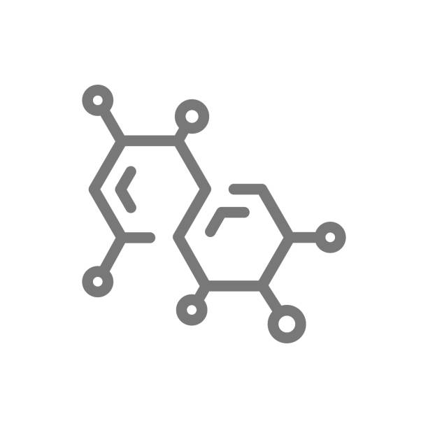 Simple chemistry formula and molecule line icon. Symbol and sign vector illustration design. Isolated on white background Vector symbol or icon design element for companies molecular structure stock illustrations