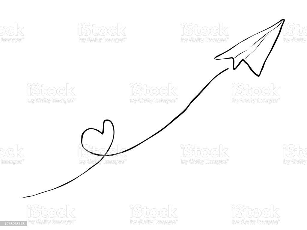 Simple Childish Hand Drawing Line Art Paper Plane Element For