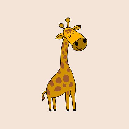 Simple childish illustration of a giraffe. Isolated vector.