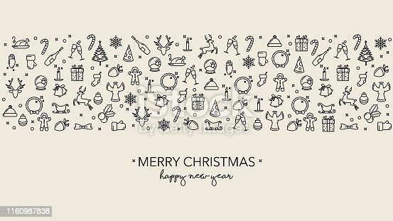Simple Christmas background with lineart icons and text