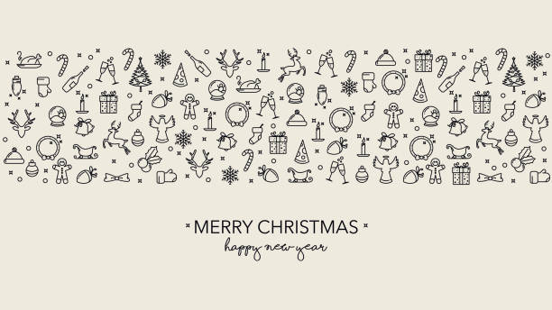 Simple Christmas background with icons and text vector art illustration