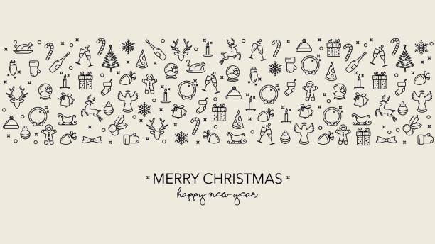 Fond simple de Noel avec des icônes et le texte - Illustration vectorielle