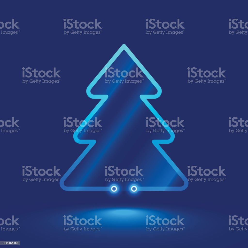 Simple christmas tree from neon glass. vector art illustration