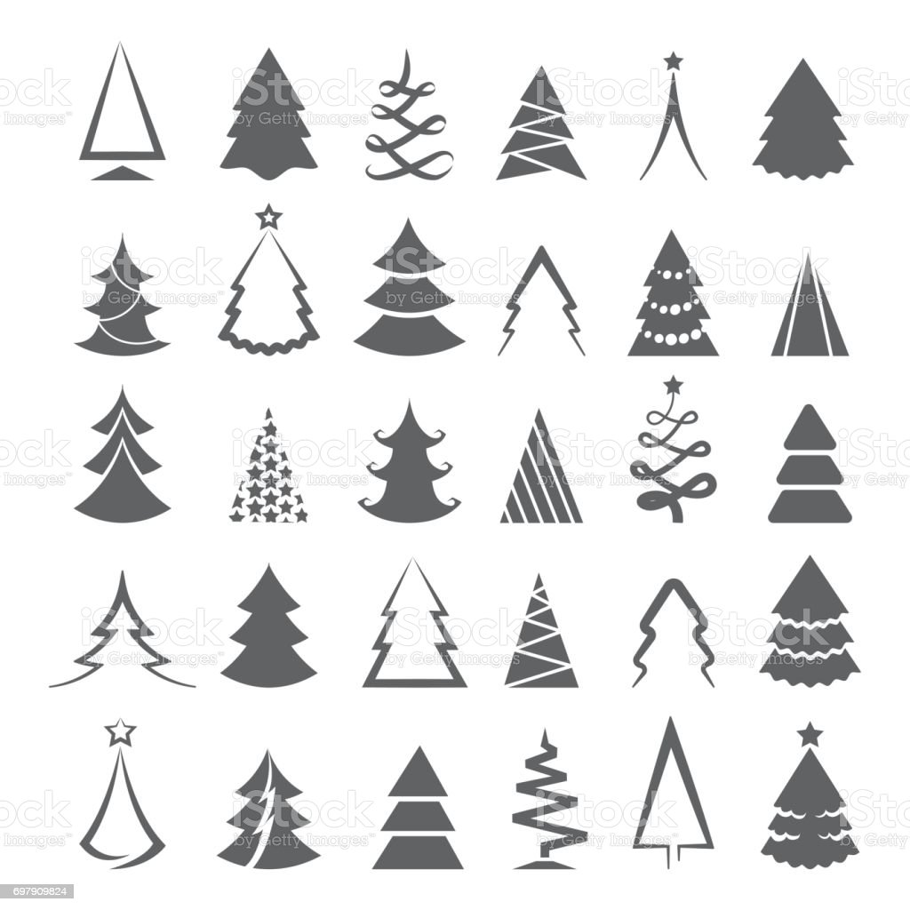 Simple Christmas Tree Icons Stock Illustration - Download ...