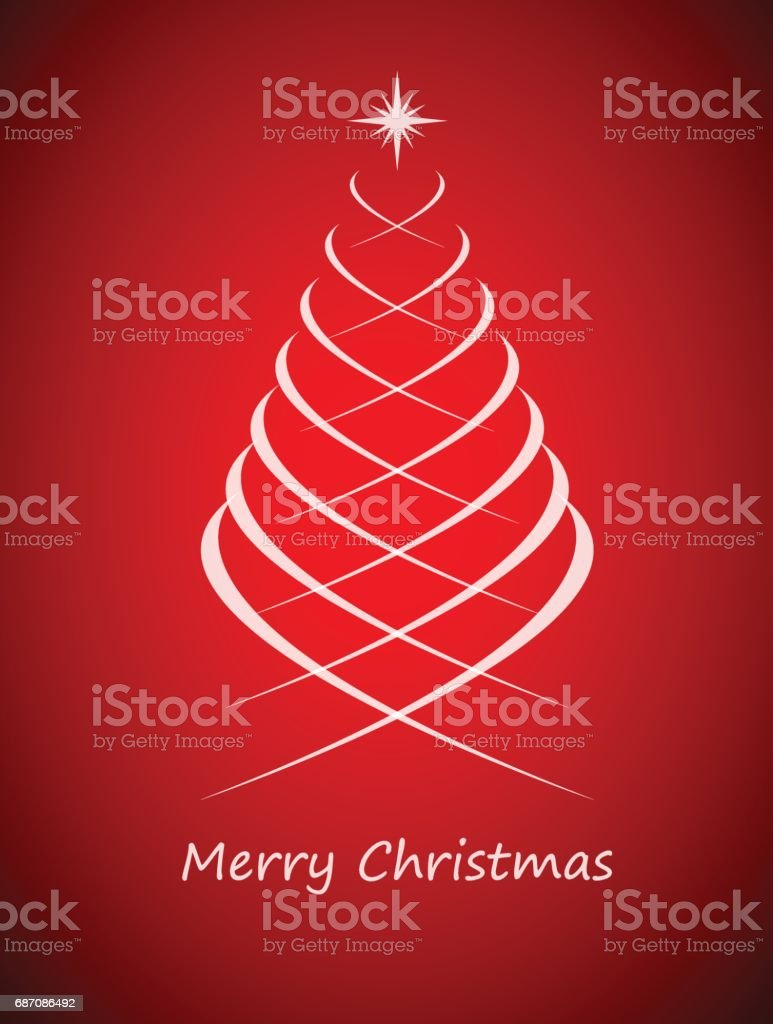 Simple Christmas Tree On Red Background Merry Christmas Card Stock