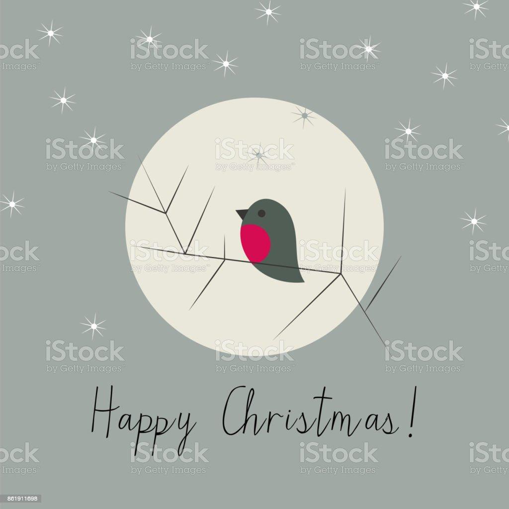 Simple Christmas winter greeting card with bullfinch vector art illustration