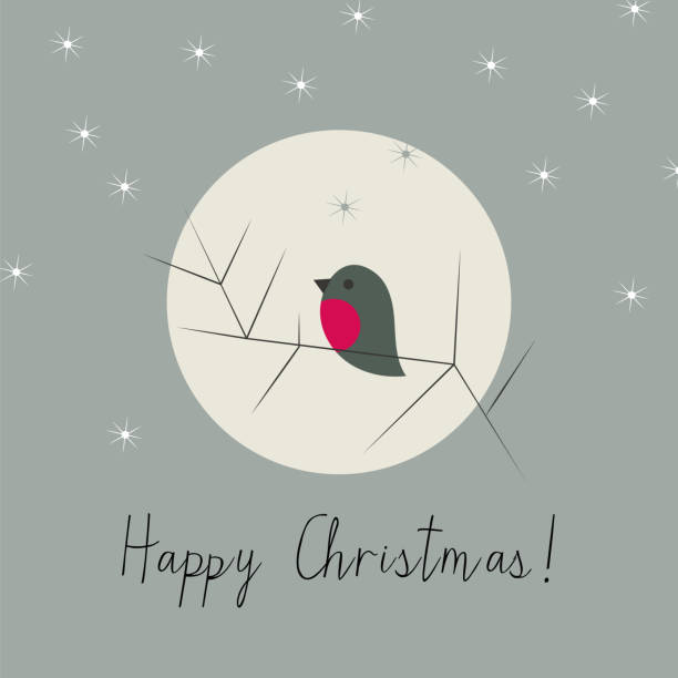 Simple Christmas winter greeting card with bullfinch vector art illustration