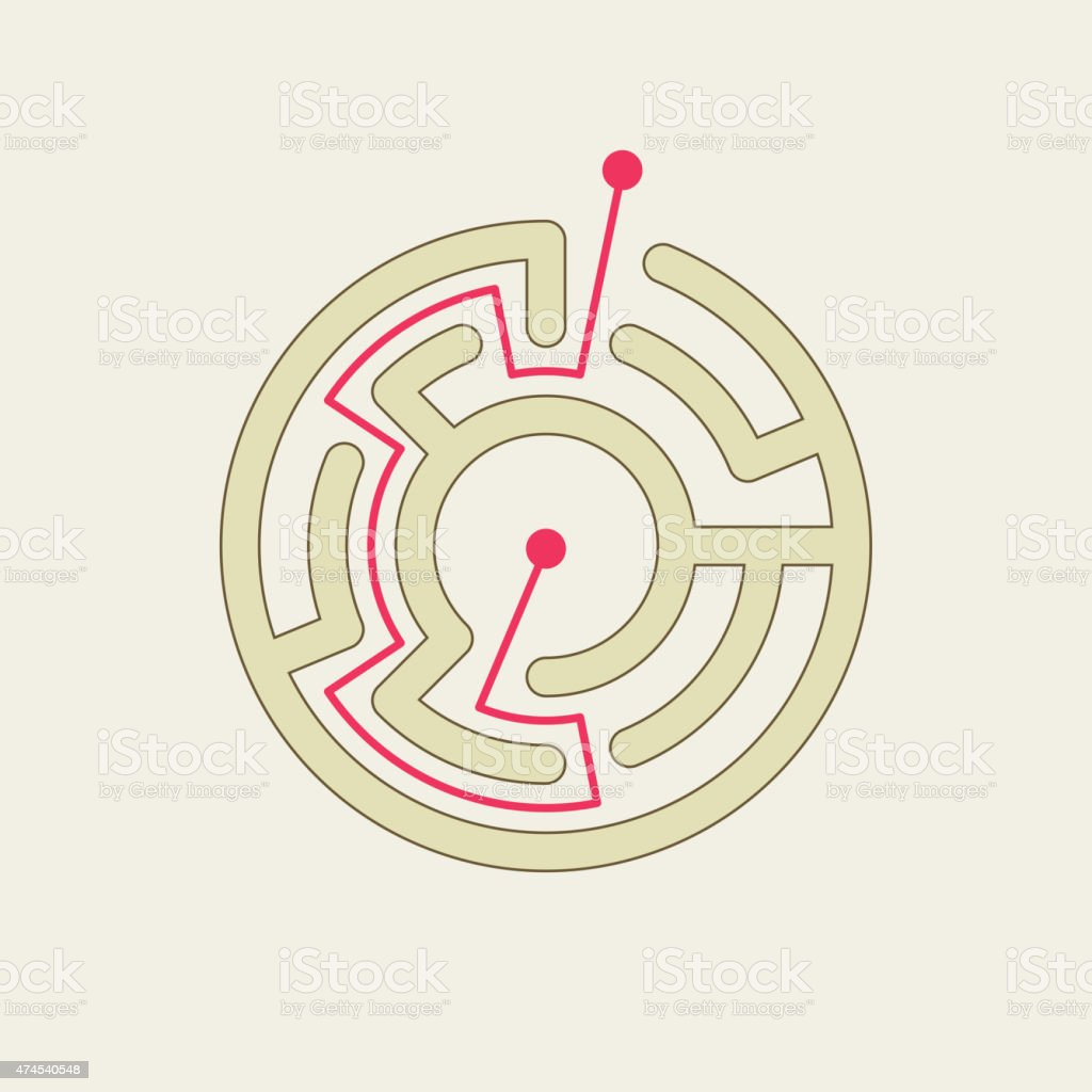 Simple Circular Maze Stock Illustration - Download Image Now