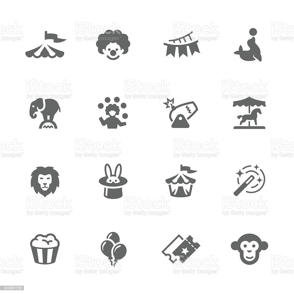 Simple Circus Icons vector art illustration