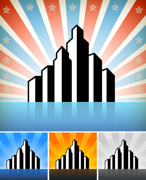Building And Construction Of Skyscraper Black White Icon Set Clip Art Vector Images Illustrations