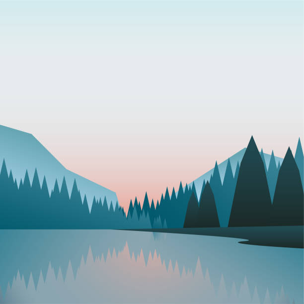 simple clean scenery illustration vector art illustration