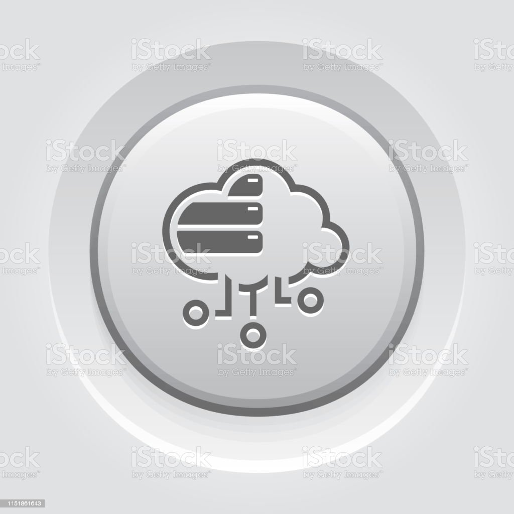 Simple Cloud Database Vector Line Button with storage devices.