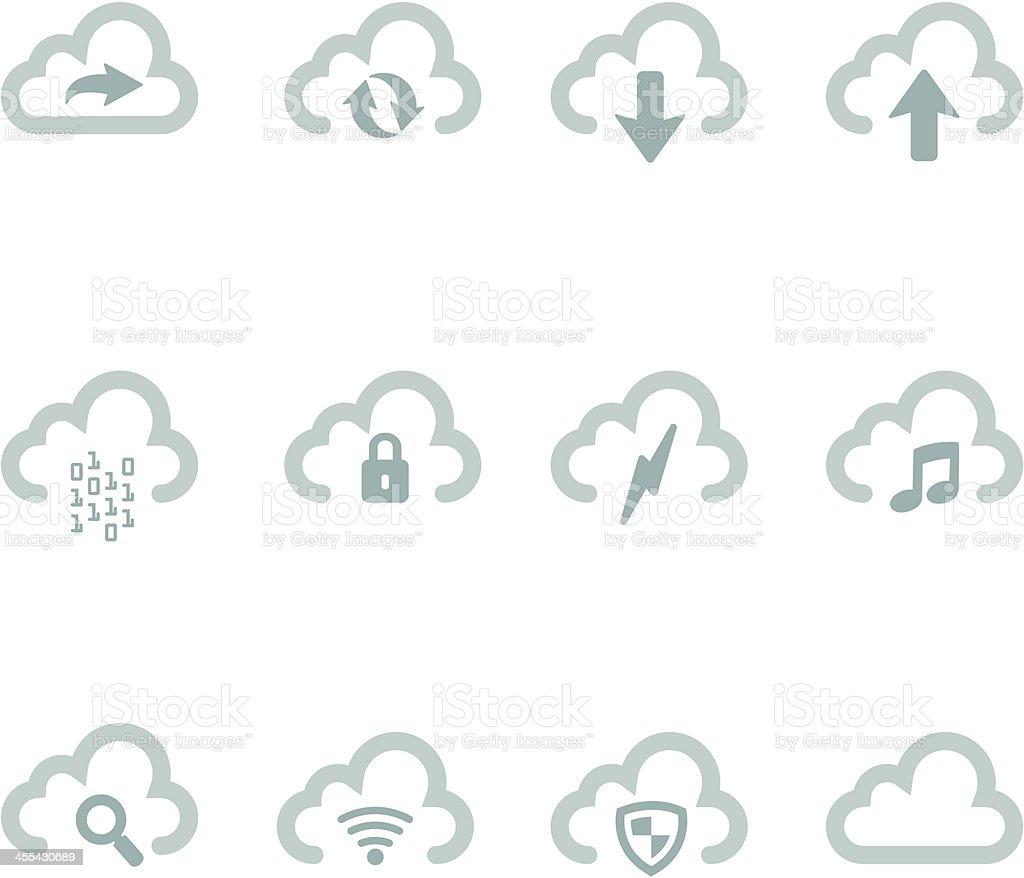 Simple Cloud Icons vector art illustration
