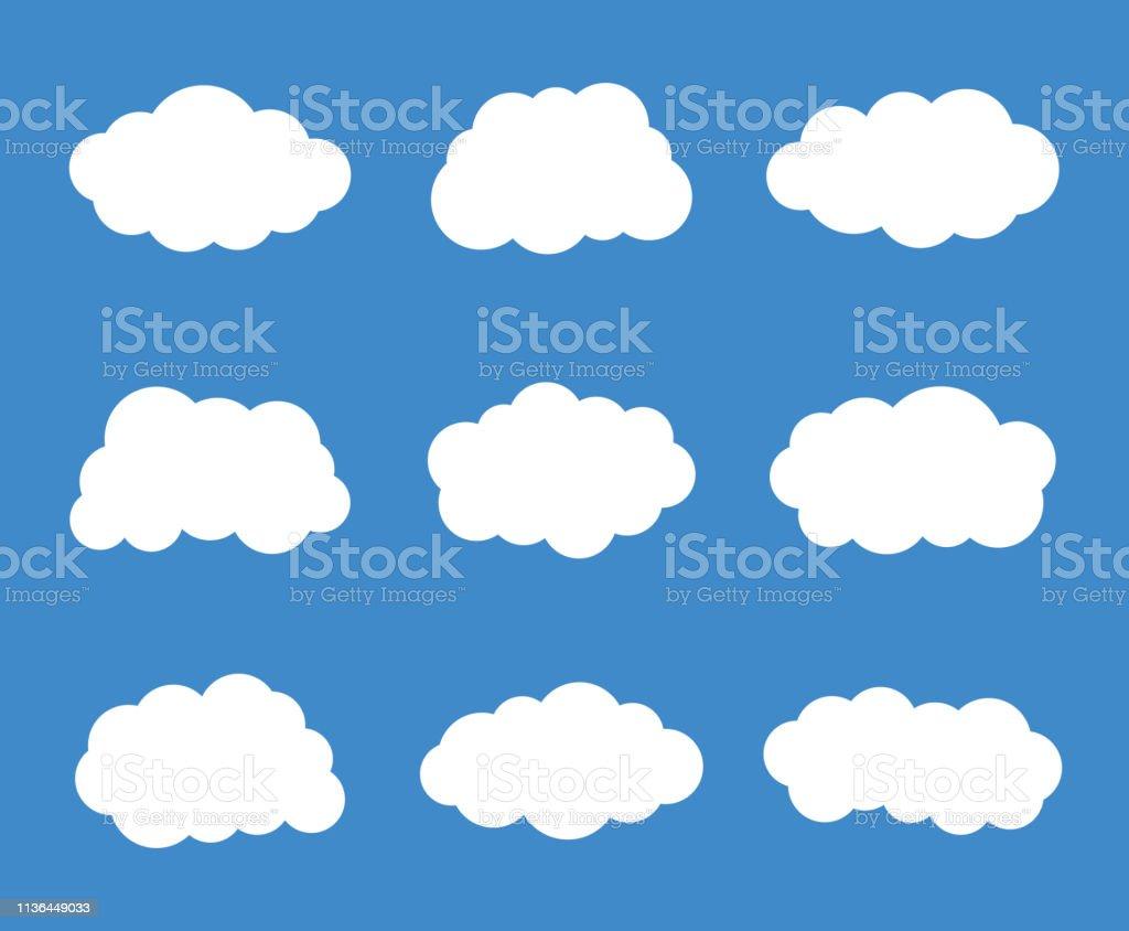 Simple clouds set. Vector illustration