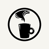 Simple isolated coffee icon badge