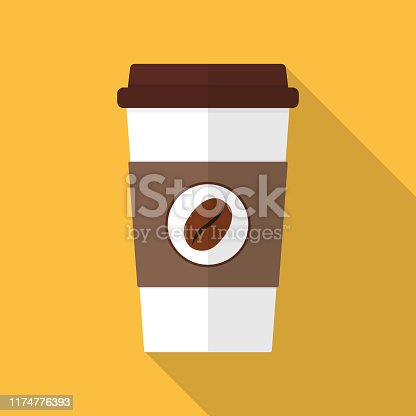 Simple Coffee Cup Illustration with Long Shadow. With EPS 10 File, easy to edit and use.