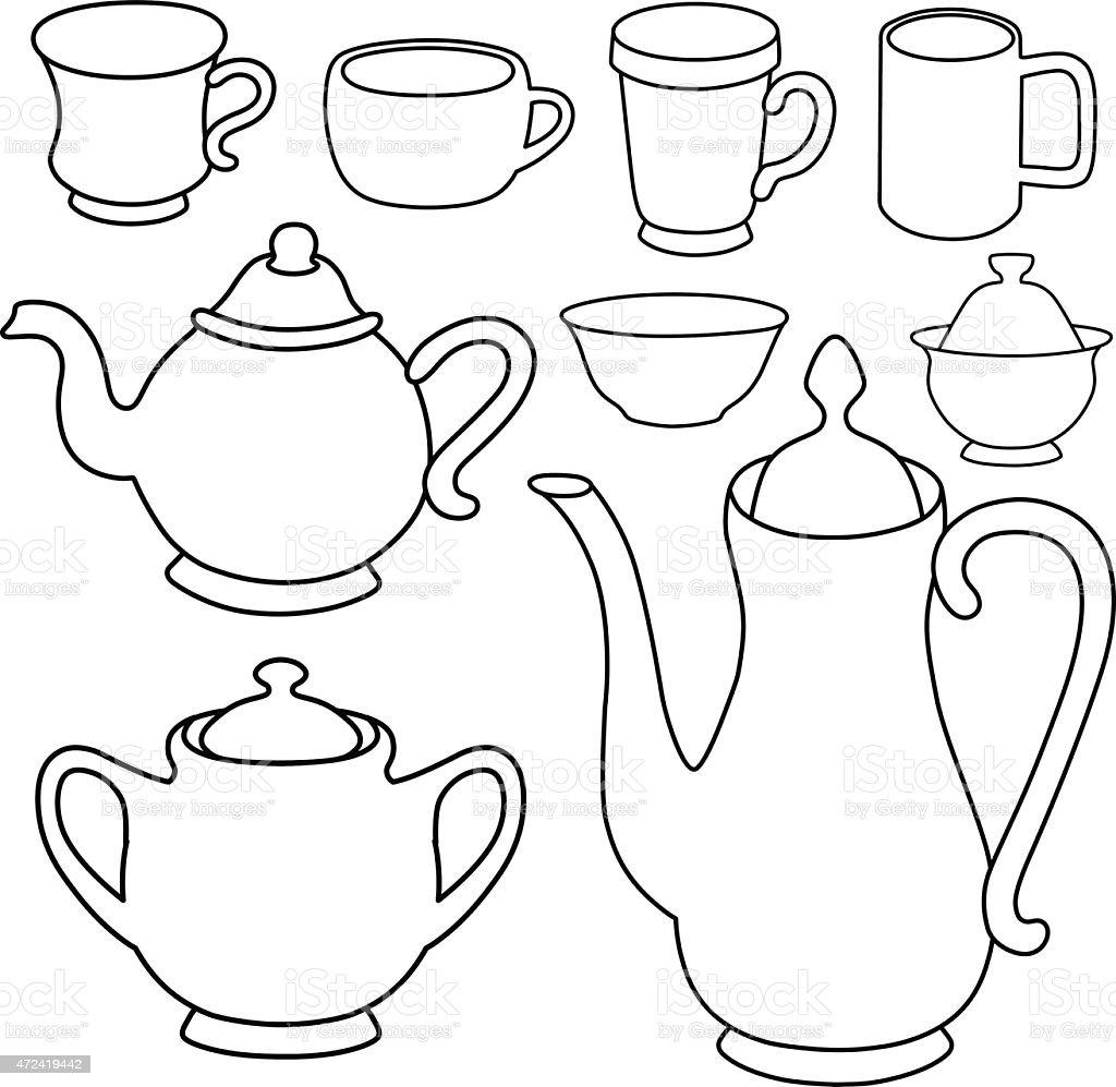 Simple coffee tea crockery silhouette set vector art illustration