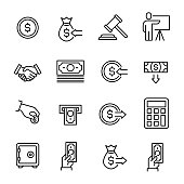 istock Simple collection of auction related line icons 863613712