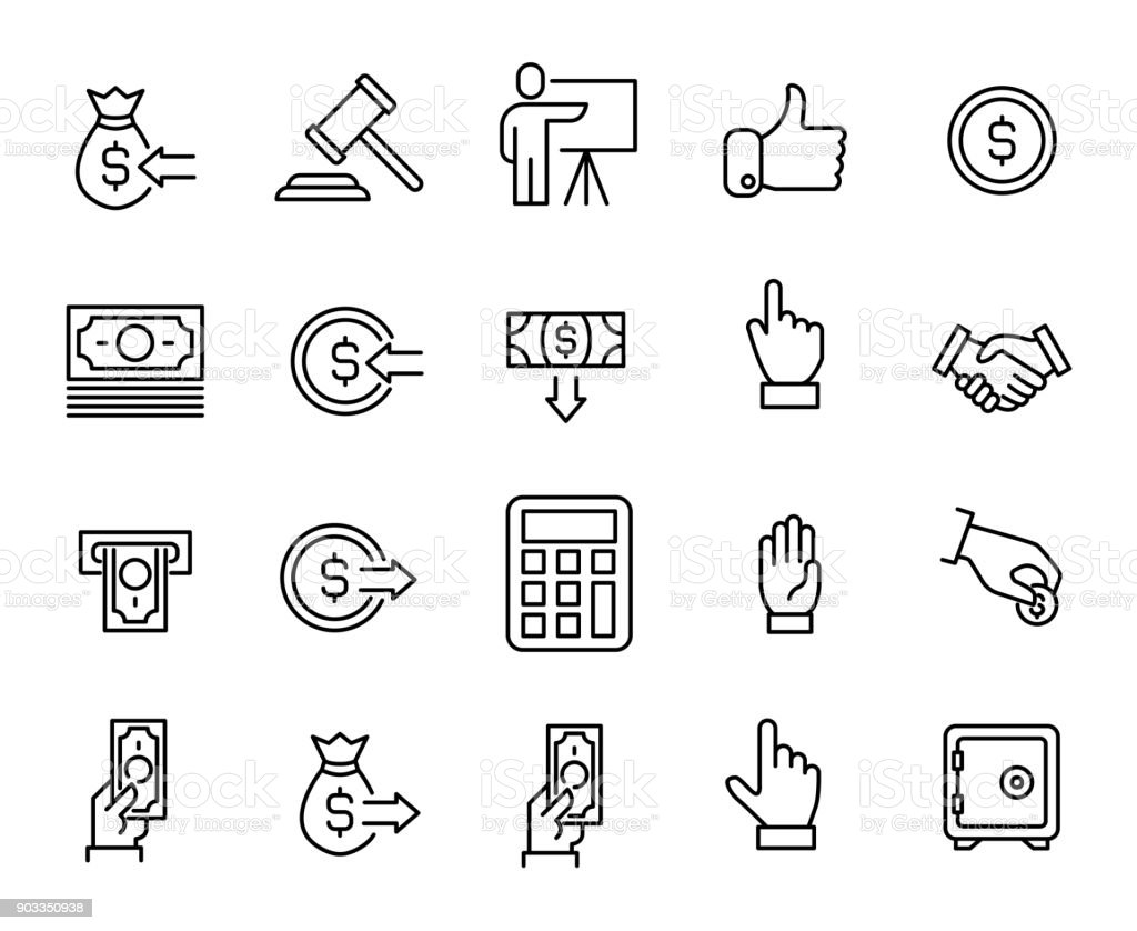 Simple collection of auction related line icons vector art illustration