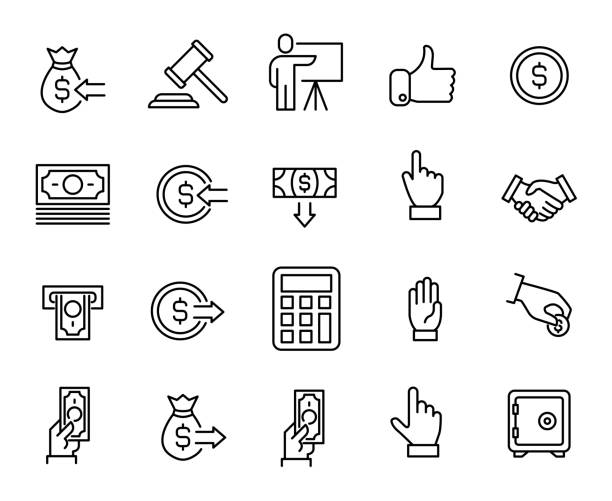 Simple collection of auction related line icons Simple collection of auction related line icons. Thin line vector set of signs for infographic, logo, app development and website design. Premium symbols isolated on a white background. courthouse stock illustrations