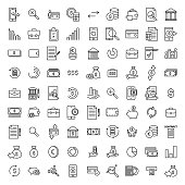 Simple collection of banking related line icons. Thin line vector set of signs for infographic, logo, app development and website design. Premium symbols isolated on a white background.