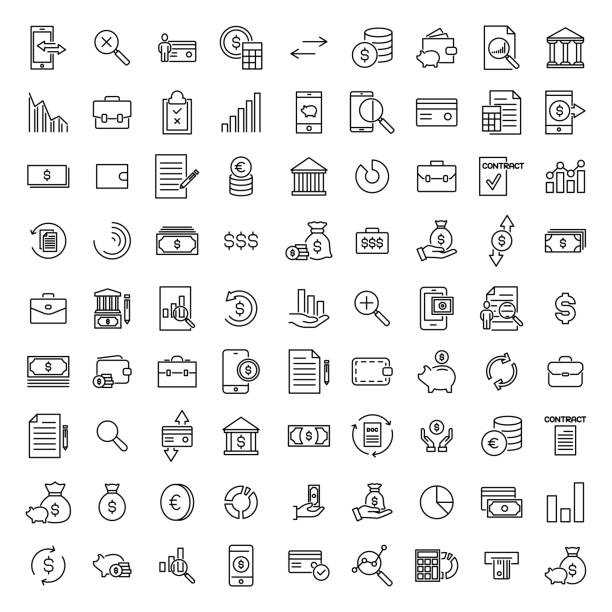 Simple collection of banking related line icons. Simple collection of banking related line icons. Thin line vector set of signs for infographic, logo, app development and website design. Premium symbols isolated on a white background. safety deposit box stock illustrations