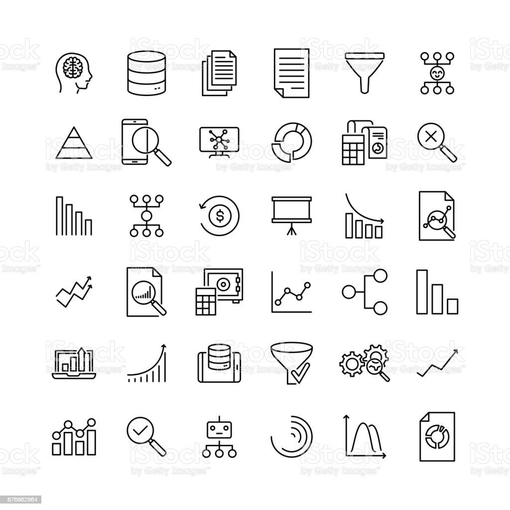 Simple collection of big data related line icons. Thin line vector set of signs for infographic, logo, app development and website design. Premium symbols isolated on a white background. vector art illustration