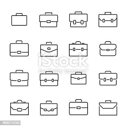 Simple collection of briefcase related line icons. Thin line vector set of signs for infographic, logo, app development and website design. Premium symbols isolated on a white background.