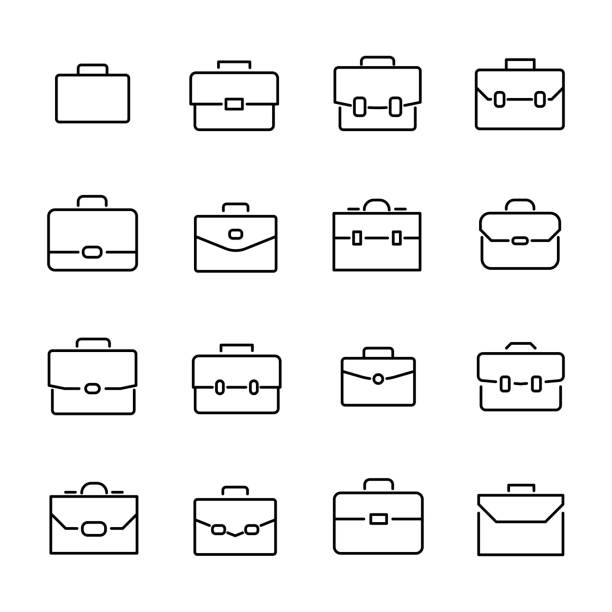 간단한 컬렉션 가방 라인 아이콘 관련. - 단정한 사무복 stock illustrations