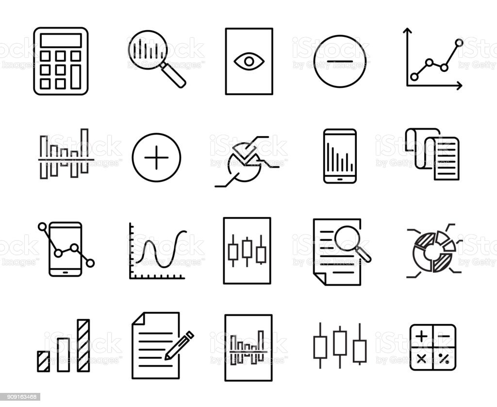 Simple collection of calculation related line icons.