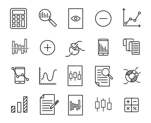 Simple collection of calculation related line icons. Simple collection of calculation related line icons. Thin line vector set of signs for infographic, logo, app development and website design. Premium symbols isolated on a white background. conceptual symbol stock illustrations