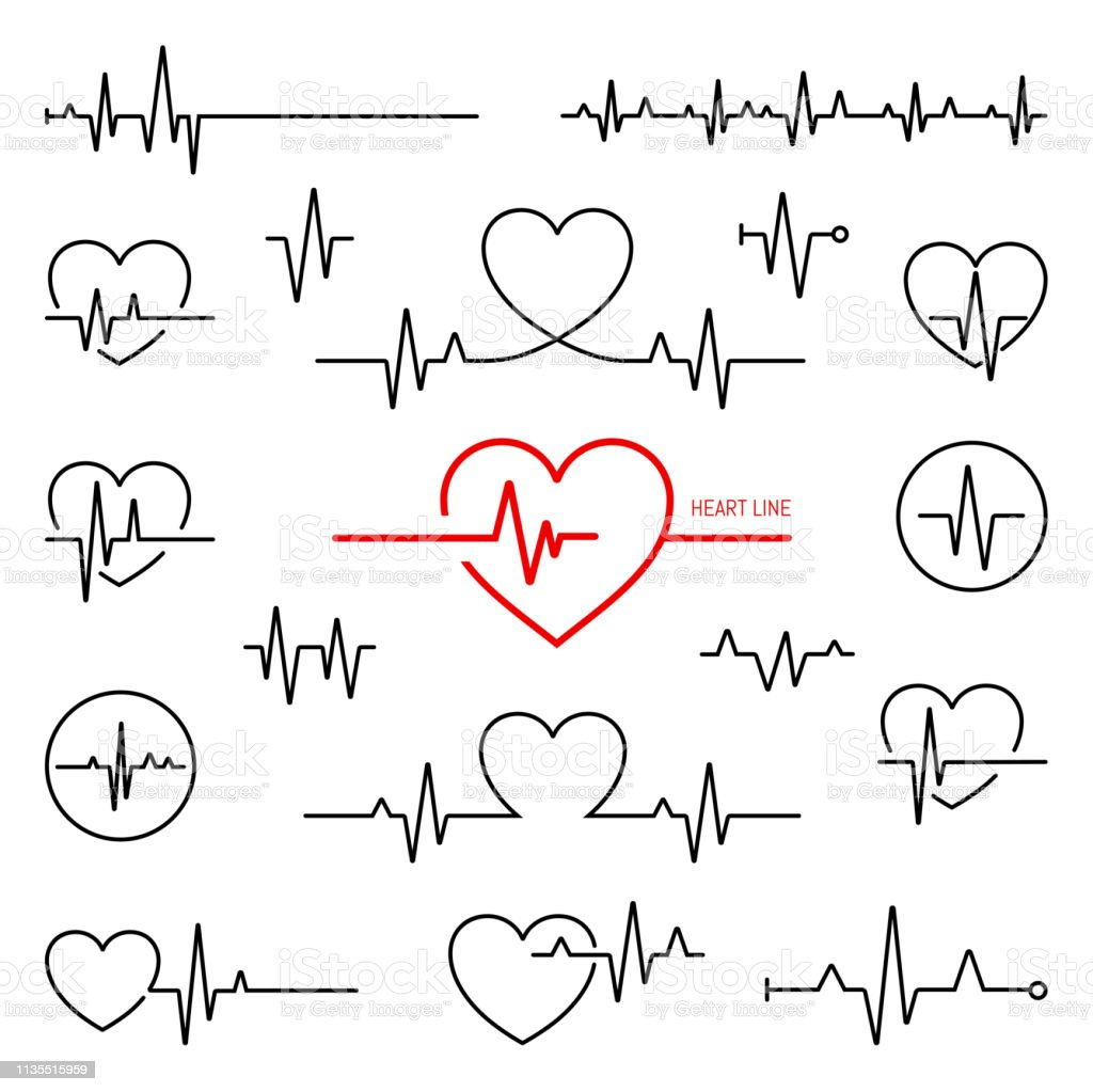 Simple collection of cardiogram related line icons Simple collection of cardiogram related line icons Accidents and Disasters stock vector