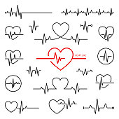 istock Simple collection of cardiogram related line icons 1135515959