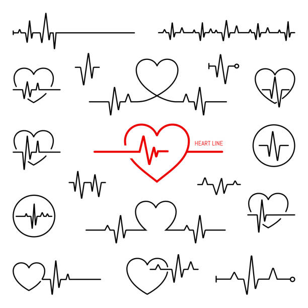 Simple collection of cardiogram related line icons Simple collection of cardiogram related line icons pulse trace stock illustrations
