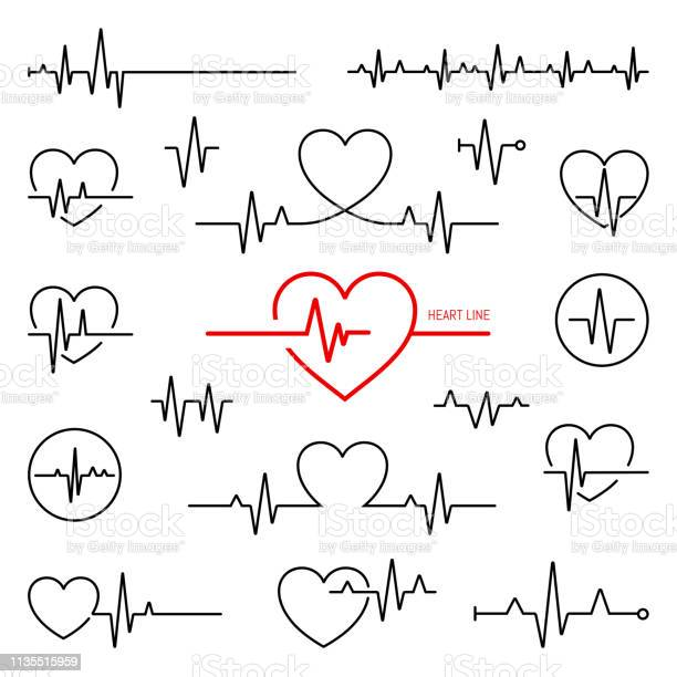 Simple Collection Of Cardiogram Related Line Icons Stock Illustration - Download Image Now