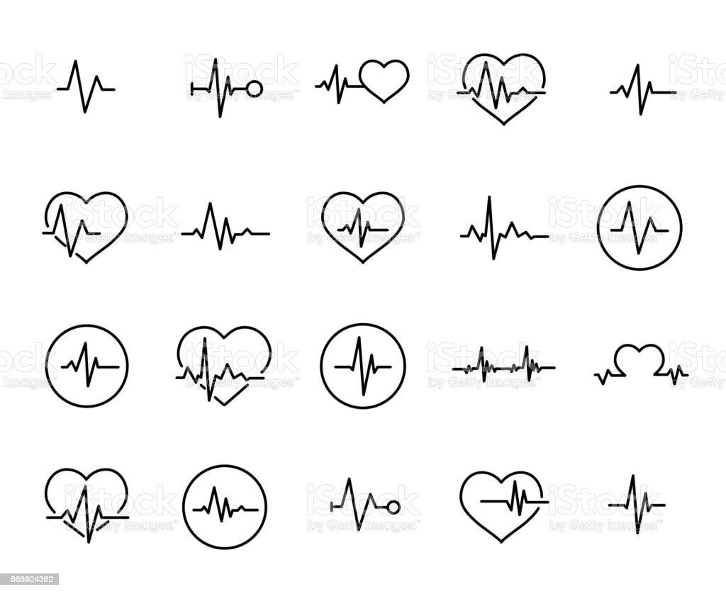 Simple collection of cardiogram related line icons royalty-free simple collection of cardiogram related line icons stock illustration - download image now