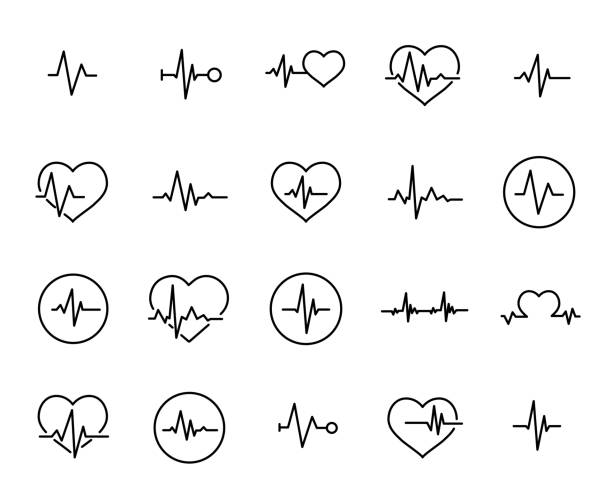 Simple collection of cardiogram related line icons vector art illustration