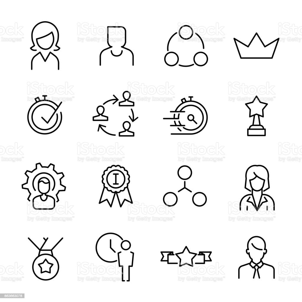 Simple collection of career related line icons vector art illustration