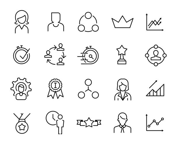 simple collection of career related line icons - unemployment stock illustrations