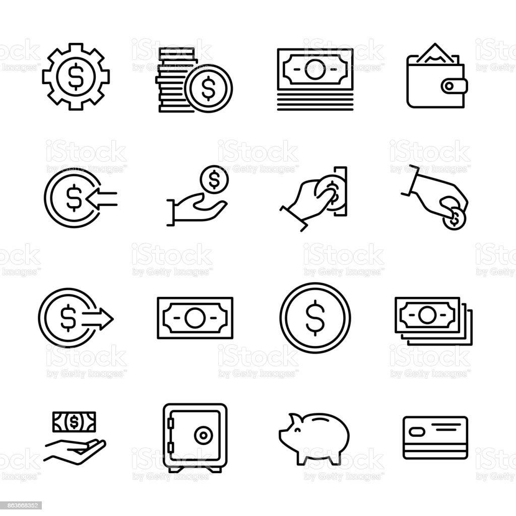 Simple collection of cash related line icons. royalty-free simple collection of cash related line icons stock illustration - download image now