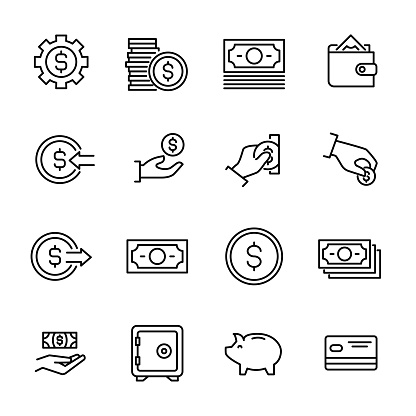 Simple Collection Of Cash Related Line Icons Stock Illustration - Download Image Now