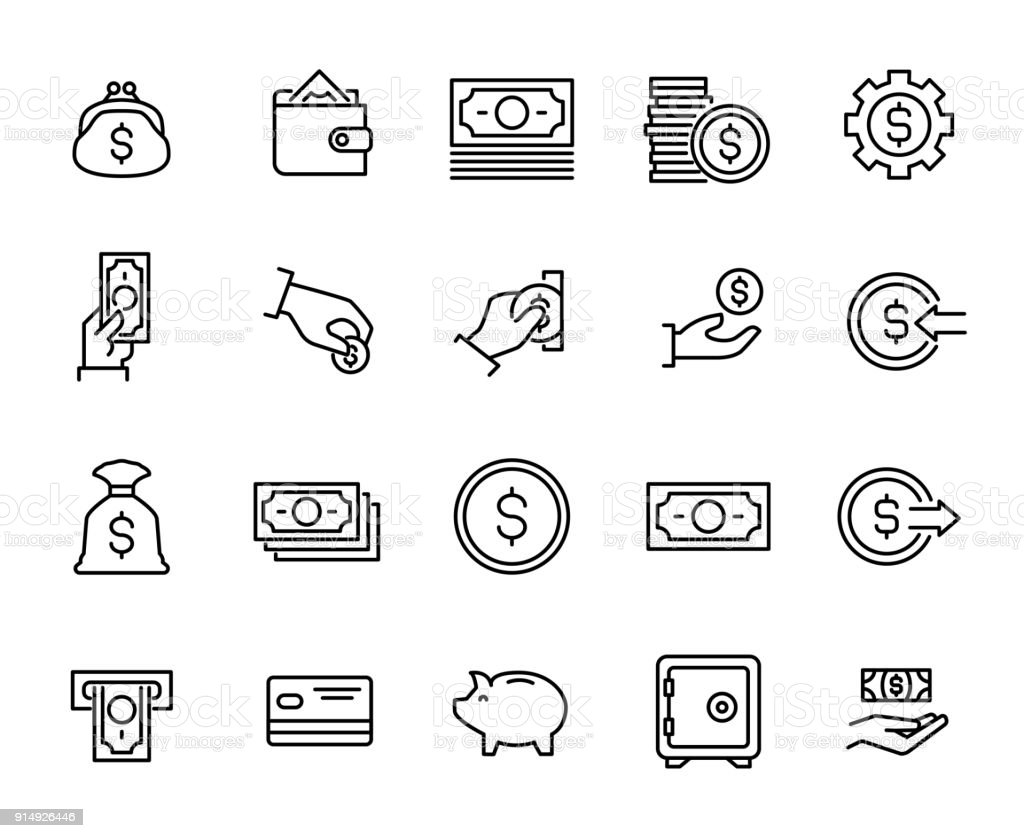 Simple collection of cash related line icons. Simple collection of cash related line icons. Thin line vector set of signs for infographic, logo, app development and website design. Premium symbols isolated on a white background. American One Dollar Bill stock vector