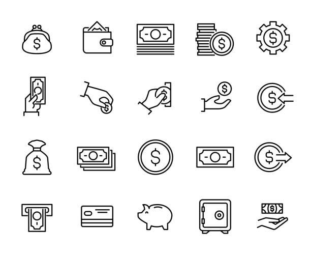 simple collection of cash related line icons. - płacić stock illustrations