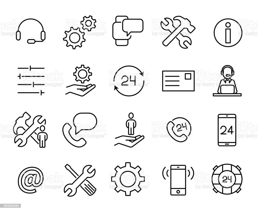Simple collection of customer care related line icons. vector art illustration