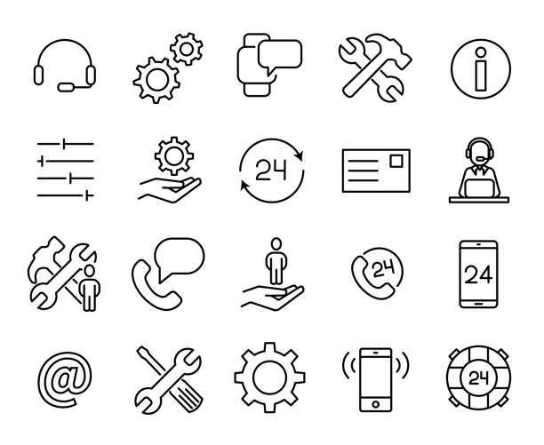 simple collection of customer care related line icons. - помощь stock illustrations