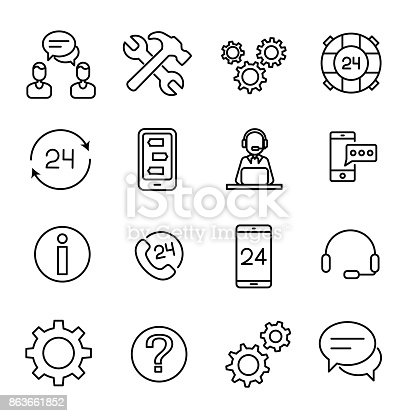 Simple collection of customer service related line icons. Thin line vector set of signs for infographic, logo, app development and website design. Premium symbols isolated on a white background.