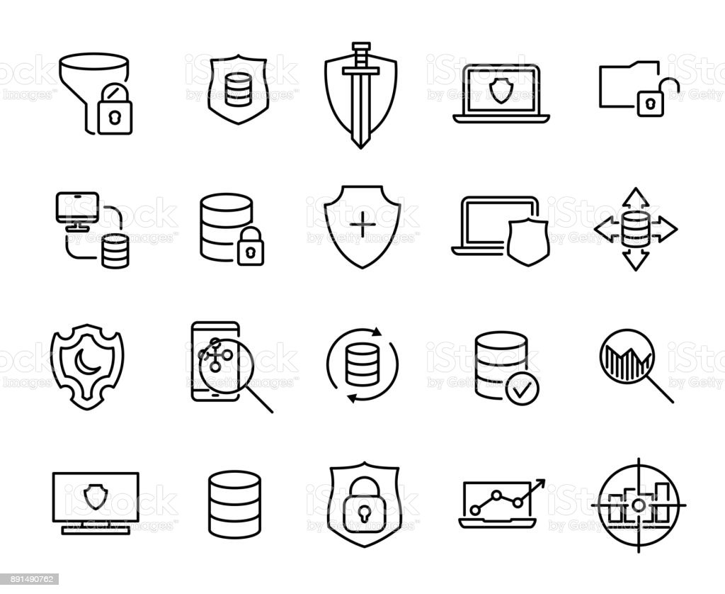 Simple collection of data protection related line icons. vector art illustration