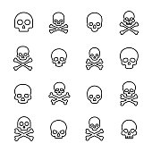 Simple collection of death related line icons. Thin line vector set of signs for infographic, logo, app development and website design. Premium symbols isolated on a white background.
