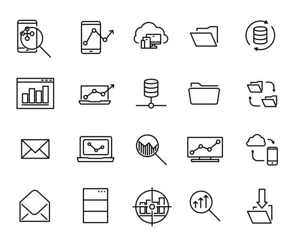 ilustrações, clipart, desenhos animados e ícones de uma coleção simples de desenvolvimento relacionados com ícones de linha. - mobile
